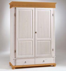 Kleiderschrank 138x199x62cm, 2 Türen, geteilte Türfüllung, 2 Schubladen, Kiefer massiv 2farbig weiß / antik