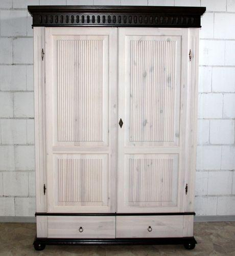 Kleiderschrank 2türig weiß kolonial Kiefer massiv Poarta – Bild 1