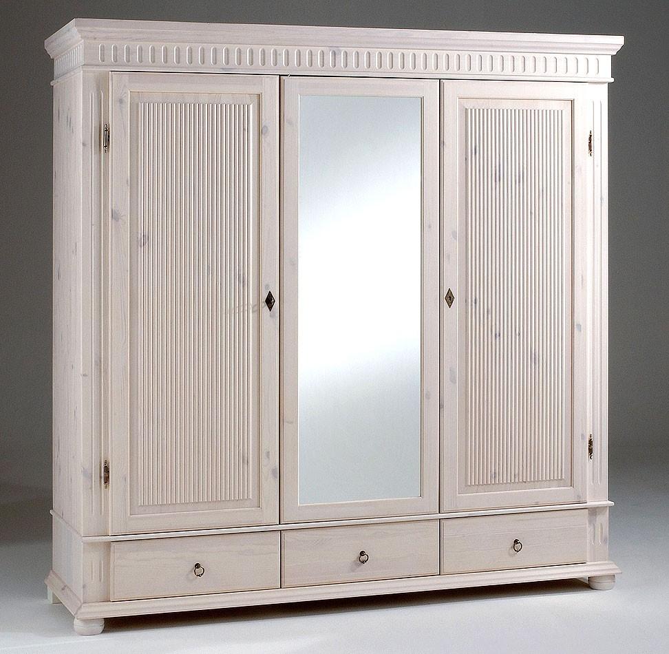 Kleiderschrank 3türig weiß mit Spiegel Kiefer massiv Poarta