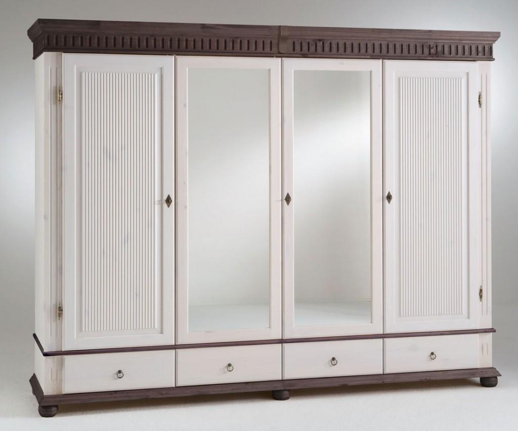 Kleiderschrank 4turig 252x199x62cm 2 spiegelturen for Kleiderschrank schubladen nachrüsten