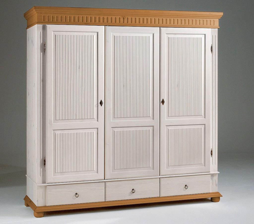 Kleiderschrank 3türig weiß antik Kiefer massiv Poarta