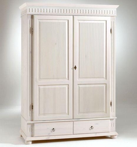 Kleiderschrank 2türig XL weiß Kiefer massiv Poarta – Bild 1