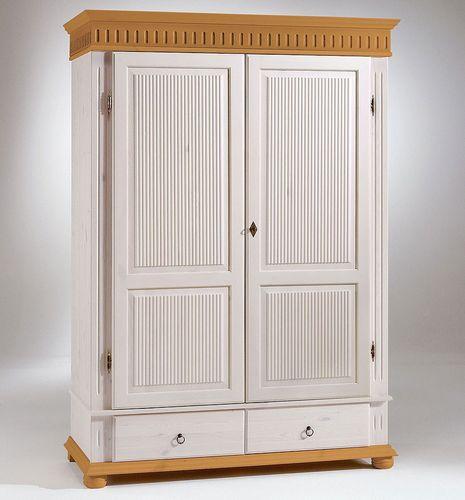 Kleiderschrank 2türig XL weiß antik Kiefer massiv Poarta – Bild 1
