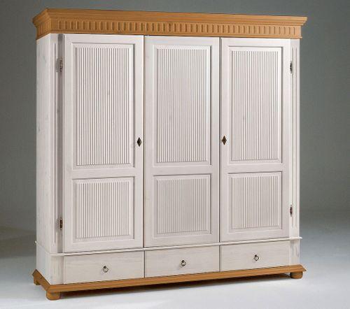 Kleiderschrank 3türig XL weiß antik Kiefer massiv Poarta – Bild 5