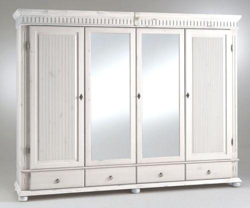 Kleiderschrank 4türig XL weiß mit Spiegel Kiefer massiv Poarta – Bild 1