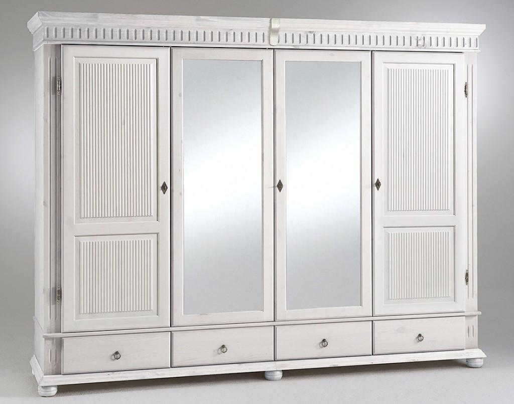 Kleiderschrank weiß mit spiegel  Kleiderschrank 4türig, 252x199x62cm, 2 Spiegeltüren, geteilte ...