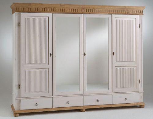Kleiderschrank 4türig weiß antik mit Spiegel Kiefer massiv Poarta – Bild 1