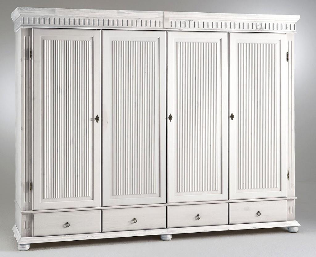 kleiderschrank 4t rig 252x218x62cm durchgehende t rf llung 4 schubladen kiefer massiv wei. Black Bedroom Furniture Sets. Home Design Ideas