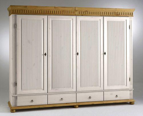 Kleiderschrank 4türig XL weiß antik Kiefer massiv Poarta – Bild 1