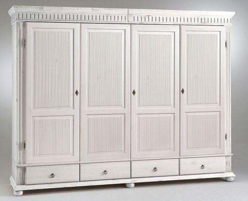Kleiderschrank 4türig XL weiß Kiefer massiv Poarta – Bild 1