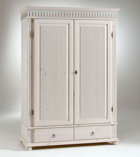 Kleiderschrank 2türig weiß Schrank Kiefer massiv Holz – Bild 1
