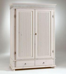 Kleiderschrank 138x199x62cm, 2 Holztüren, 2 Schubladen, Kiefer massiv weiß