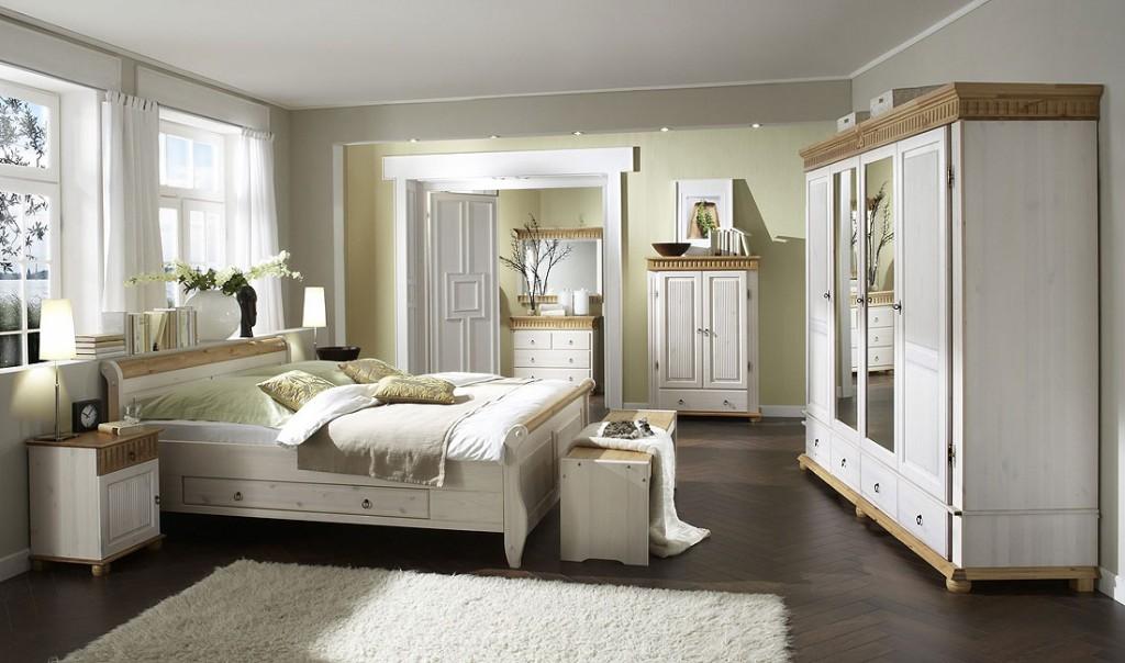 Kleiderschrank 2türig weiß antik Schrank Kiefer massiv Holz 2farbig – Bild 2