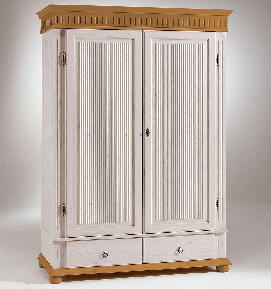 Fesselnd Kleiderschrank 2türig XL Weiß Antik Kiefer Massiv Poarta