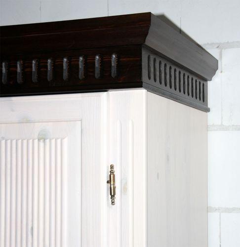 Kleiderschrank 2türig XL weiß kolonial Kiefer massiv Poarta – Bild 3