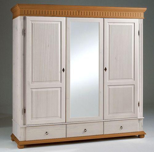 Kleiderschrank 3türig weiß antik mit Spiegel Kiefer massiv Poarta – Bild 1