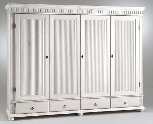 Kleiderschrank 4türig weiß Kiefer massiv Poarta – Bild 1