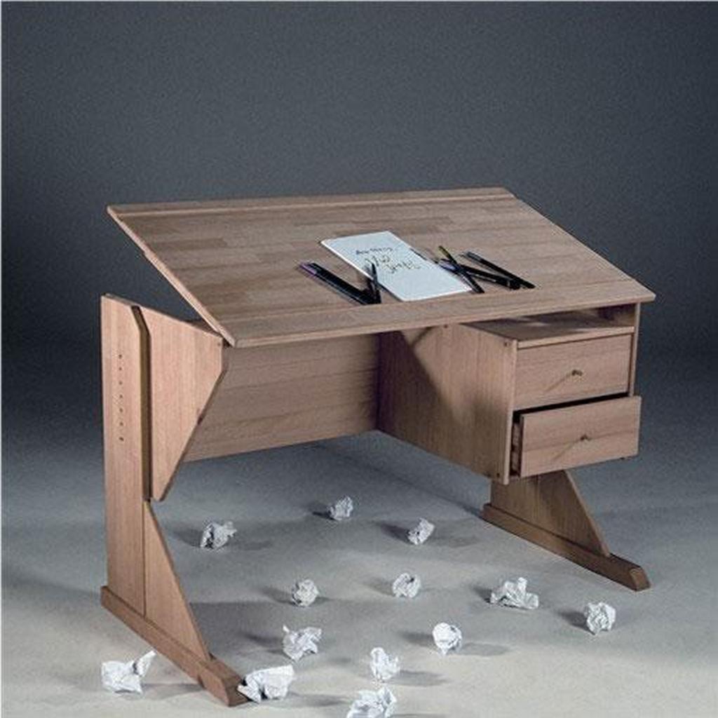 Kinderzimmer Schreibtisch KIDY, höhenverstellbar aus massiver Buche, natur geölt – Bild 2