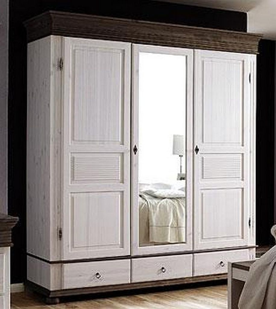 kleiderschrank 3t rig 196x219x63cm 1 spiegelt r 3 schubladen kiefer massiv 2farbig wei. Black Bedroom Furniture Sets. Home Design Ideas