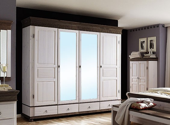 Massivholz Kleiderschrank 4türig XL Spiegel Weiß Antik Schlafzimmerschrank  Kiefer