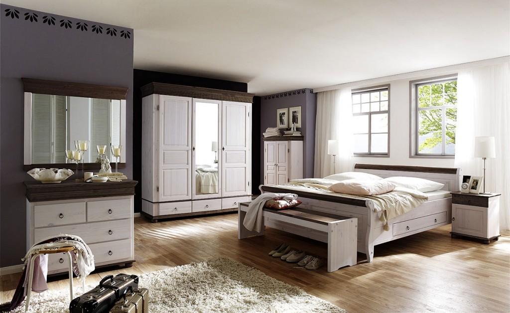 Schlafzimmer Set Komplett 8teilig Weiß Kolonial Vollholz Kiefer Massiv