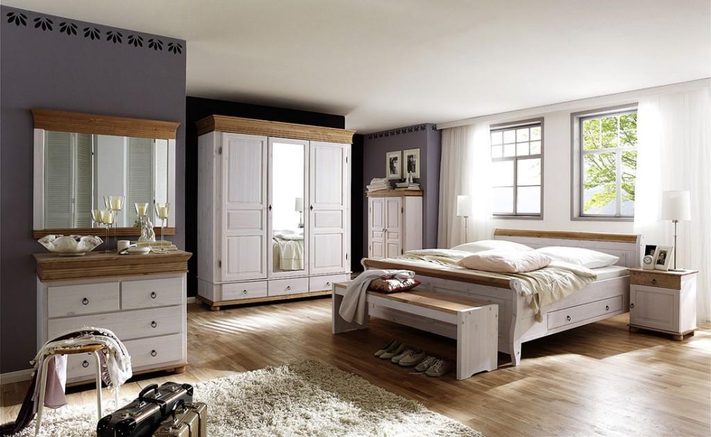 Schlafzimmer 8teilig, Kiefer massiv 2farbig weiß / antik