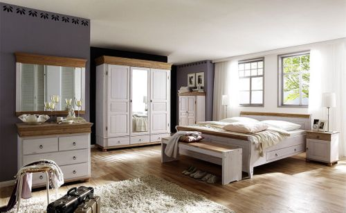 Schlafzimmer-Set komplett 8teilig weiß antik Vollholz Kiefer massiv – Bild 1