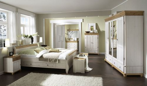 Schlafzimmer-Set Euro 6teilig komplett Kiefer massiv weiß antik – Bild 1