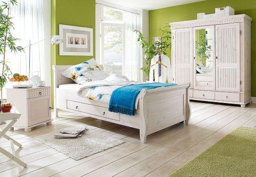 Schlafzimmer-Set komplett 3teilig Kiefer massiv weiß lasiert – Bild 1