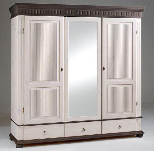 Schlafzimmer-Set 5teilig komplett Kiefer massiv weiß kolonial – Bild 4
