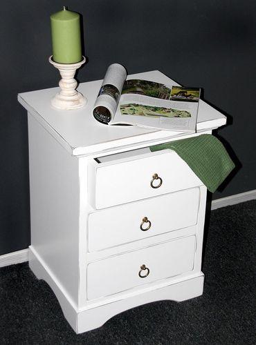 Nachttisch Nachtkonsole Nachtkommode Holz massiv weiß shabby – Bild 2