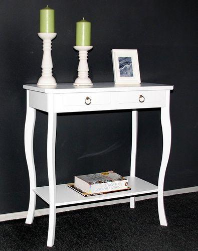 Wandtisch Telefontisch Konsolentisch Holz massiv weiß lackiert – Bild 1