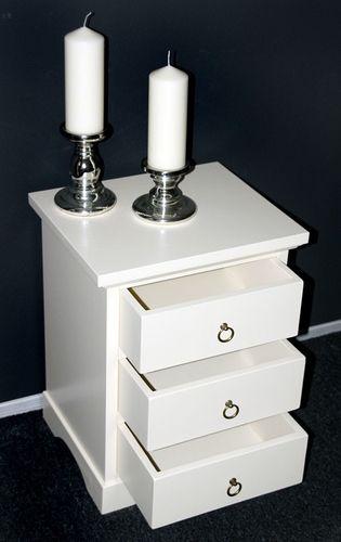 Nachttisch Nachtkonsole Nachtkommode Vollholz massiv creme weiß – Bild 4