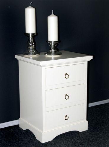 Nachttisch Nachtkonsole Nachtkommode Vollholz massiv creme weiß – Bild 1