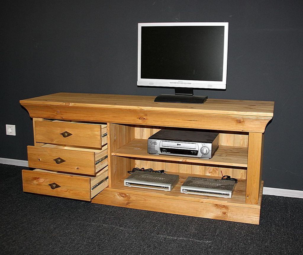 tv lowboard 143x59x45cm 3 schubladen kiefer massiv gelaugt ge lt. Black Bedroom Furniture Sets. Home Design Ideas