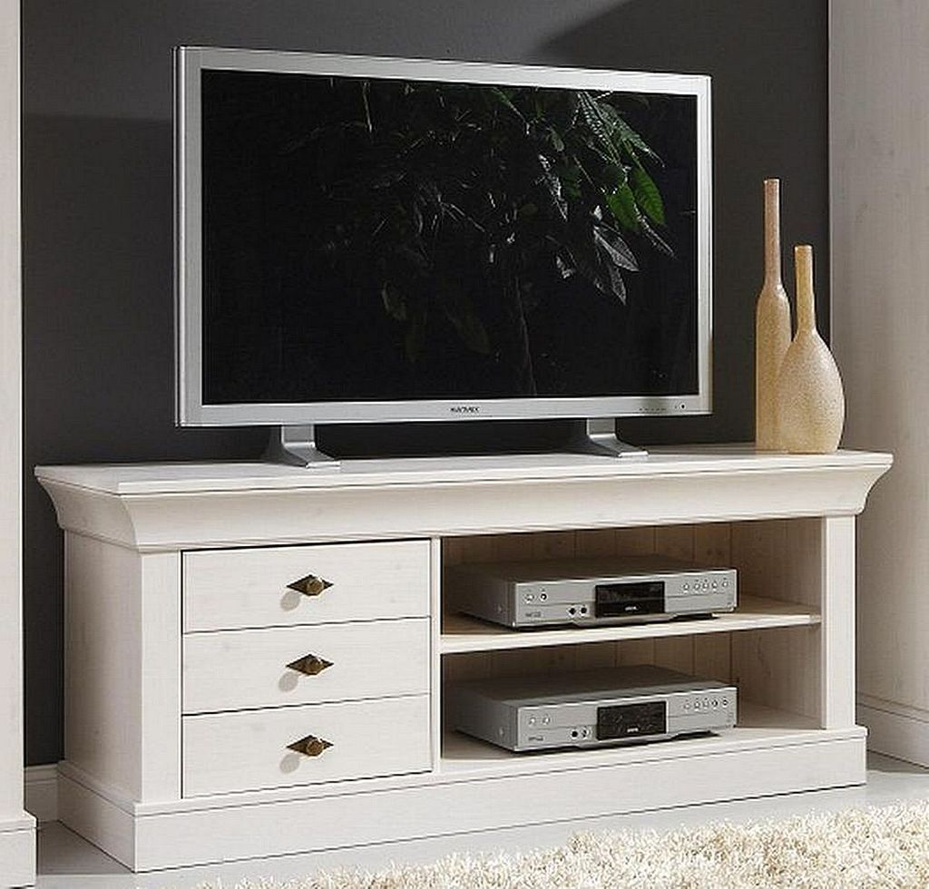 tv lowboard 143x59x45cm 3 schubladen kiefer massiv wei. Black Bedroom Furniture Sets. Home Design Ideas