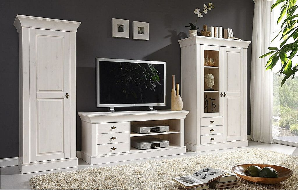 tv lowboard 143x59x45cm 3 schubladen kiefer massiv wei lasiert. Black Bedroom Furniture Sets. Home Design Ideas