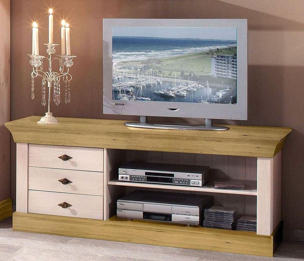 tv lowboard 143x59x45cm 3 schubladen kiefer massiv. Black Bedroom Furniture Sets. Home Design Ideas