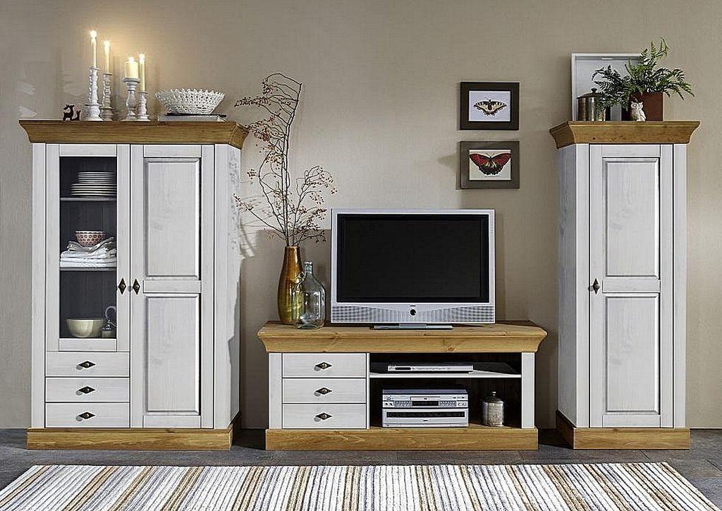 tv lowboard 143x59x45cm 3 schubladen kiefer massiv. Black Bedroom Furniture Sets. Home Design Ideas