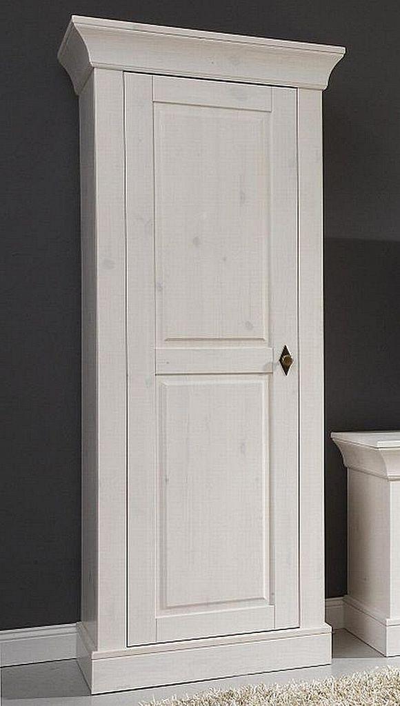 wohnzimmerschrank 65x163x45cm 1 holzt r kiefer massiv wei lasiert. Black Bedroom Furniture Sets. Home Design Ideas