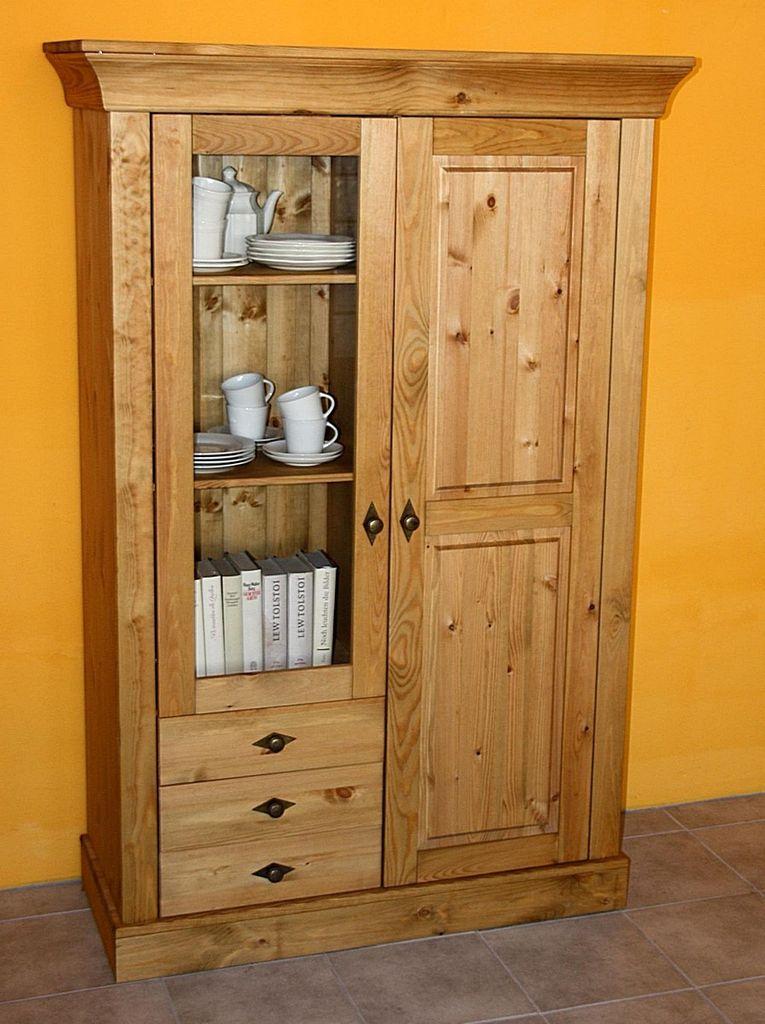 Vitrinenschrank 108x163x45cm 1 Glastur 1 Holztur 3 Schubladen