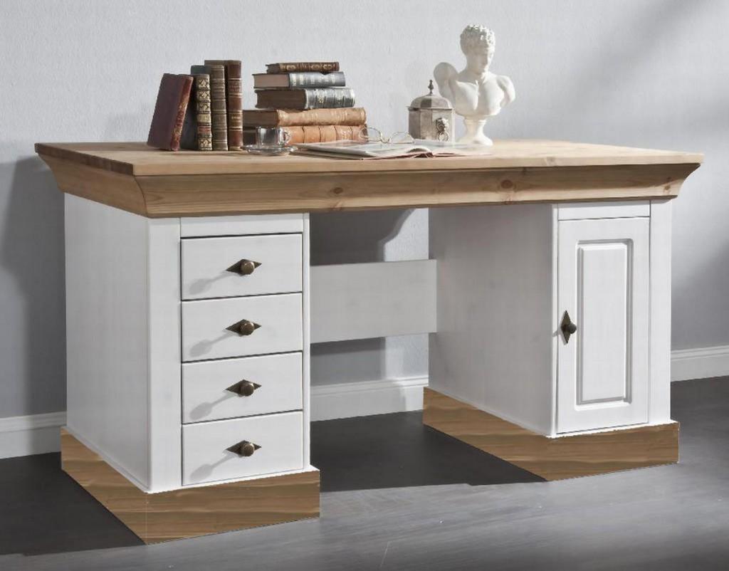 schreibtisch 143x77x65cm 4 schubladen 1 t r kiefer. Black Bedroom Furniture Sets. Home Design Ideas