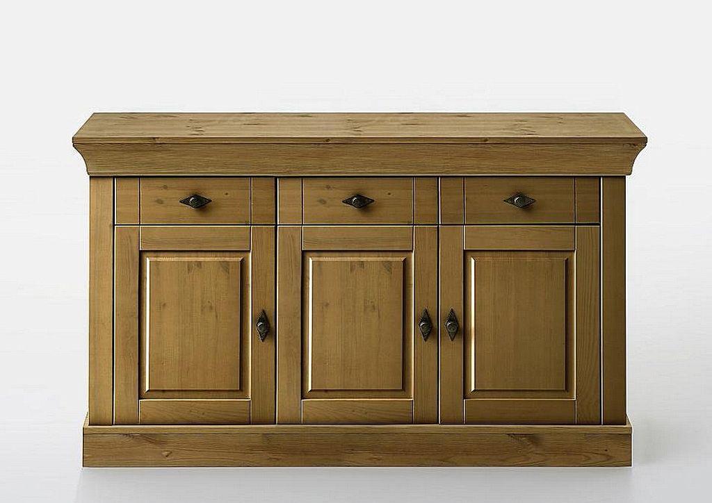 sideboard 143x85x45cm 3 t ren 3 schubladen kiefer massiv gelaugt ge lt. Black Bedroom Furniture Sets. Home Design Ideas
