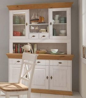 Buffetschrank 143x197x45cm, 3 Holztüren, 2 Glastüren, Kiefer massiv 2farbig weiß lasiert / gelaugt geölt