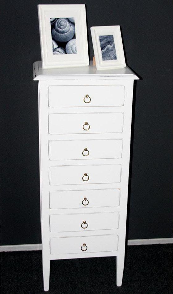 Kommode schmal holz  Kommode 48x115x34cm, 7 Schubladen, Pappel massiv weiß antik lackiert