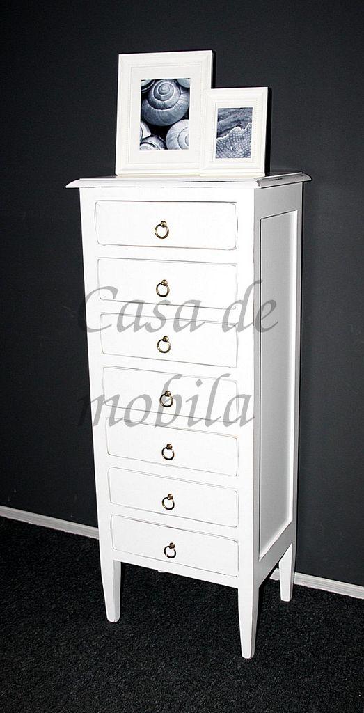 Kommode 48x115x34cm 7 Schubladen Pappel Massiv Weiss Antik Lackiert