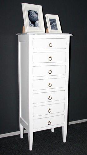 Apothekerkommode Schubladenkommode Holz massiv weiß shabby – Bild 4