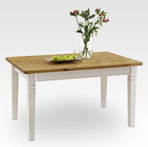 Esstisch 140x90cm 2farbig weiß gelaugt geölt Kiefer Esszimmertisch Tisch Vollholz massiv – Bild 1