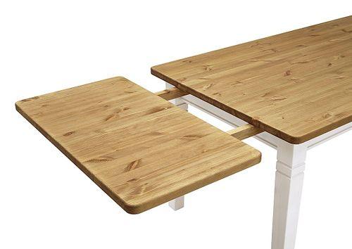 Esstisch 140x90cm 2farbig weiß gelaugt geölt Kiefer Esszimmertisch Tisch Vollholz massiv – Bild 4