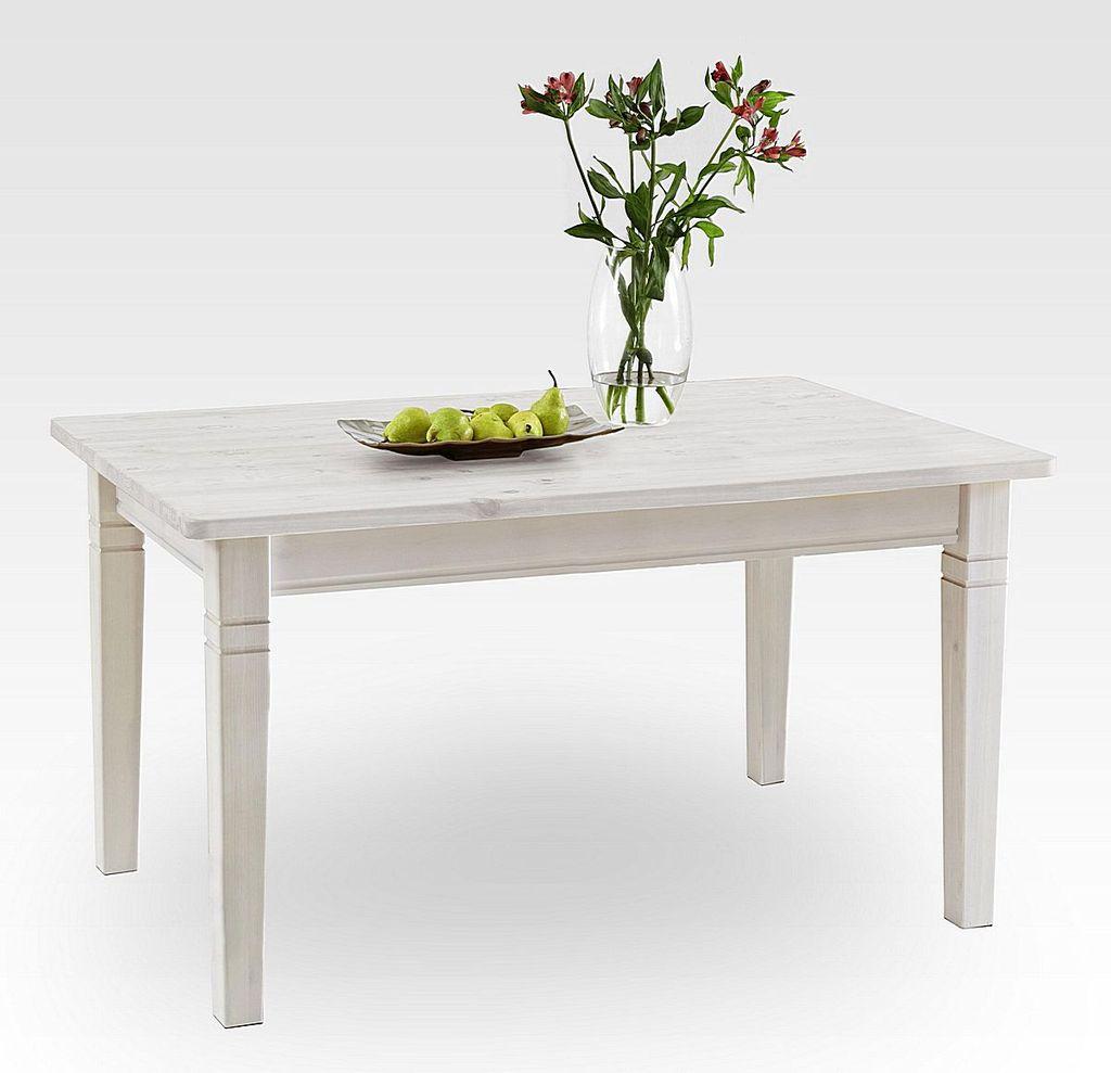massivholz esstisch 140x90cm wei lasiert kiefer. Black Bedroom Furniture Sets. Home Design Ideas